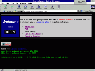[A GeoCities page in Netscape 4 on Windows 3.1]