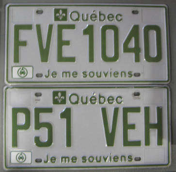 [Quebec Green Vehicle license plates]
