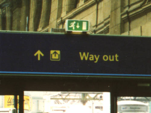 [Exit sign - Edinburgh, Scotland]