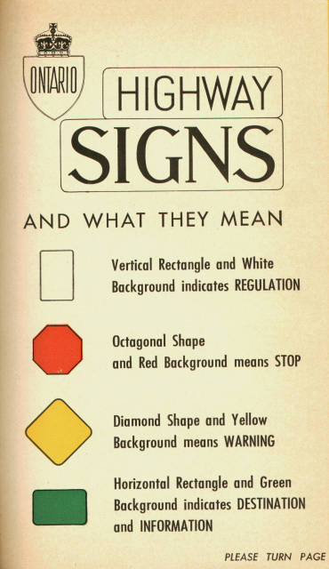 [Ontario 1956 road signs]