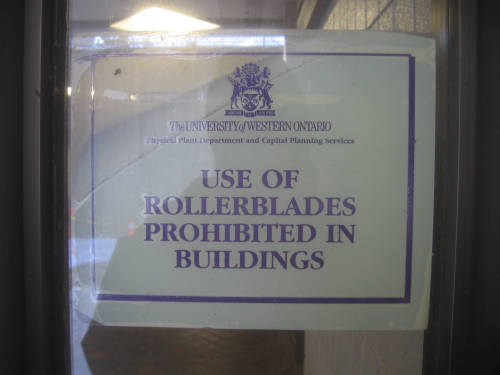 [Use of Rollerblades prohibited in buildings]