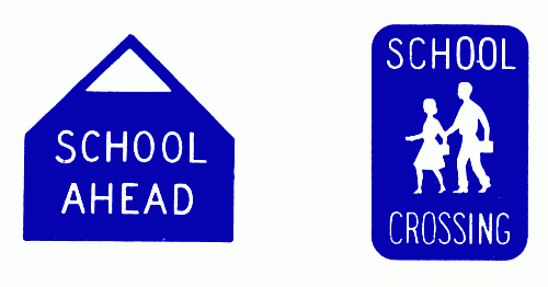 [School signs, 1956-57 Ontario Motor League Road Book]