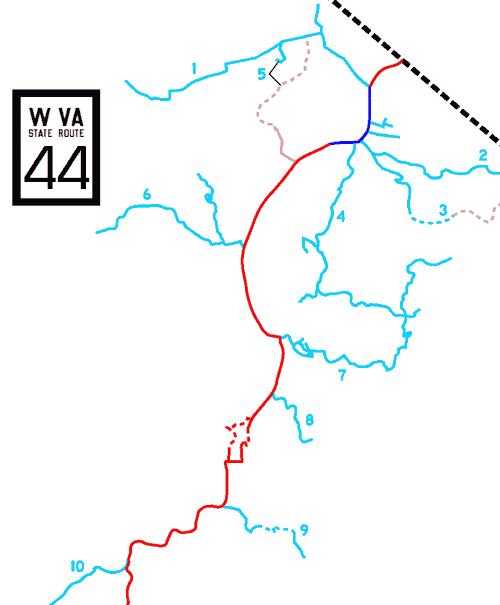 [West Virginia Route 44 map]