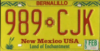 New Mexico License Plate