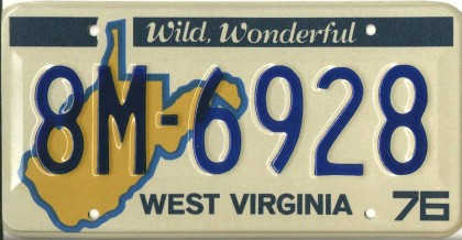 [West Virginia license plate 8M-6928] & West Virginia